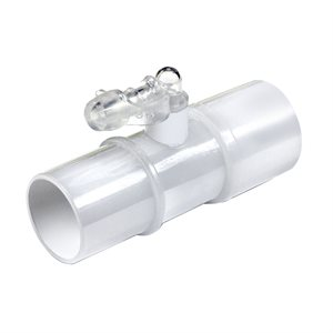 CPAP Tube Connector with inline Oxygen Enrichment port with cap, Clear, Qty 5