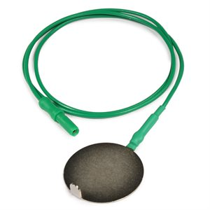 """CHALGREN ground electrode - 32 mm flat nickel plated brass disc 24"""" lead wire Qty 1"""