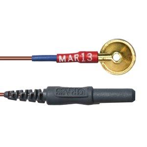 """Grass Electrode, Light-weight Teflon, Gold Cup, 10 mm disc, 2 mm hole, 48"""""""
